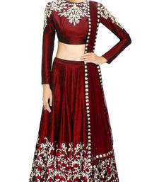 Buy Maroon embroidered raw silk unstitched lehenga choli lehenga-choli online