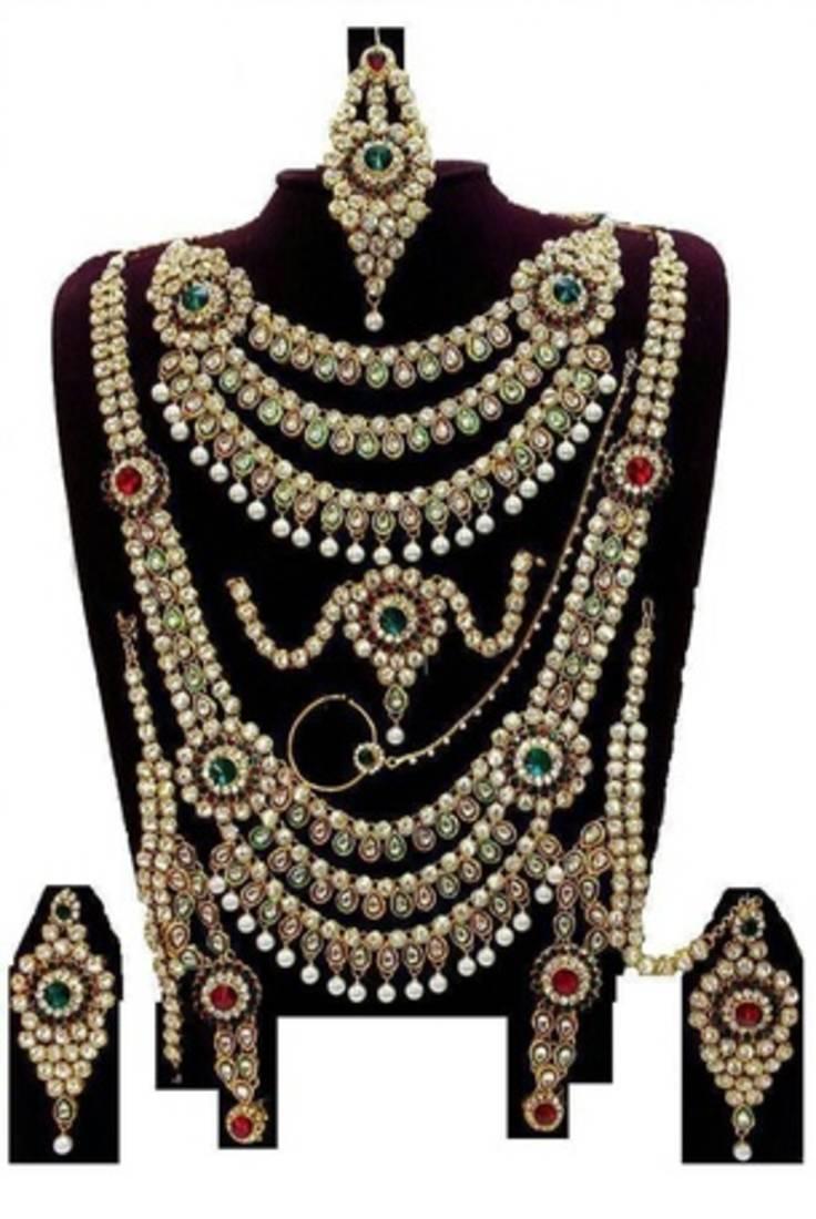 Buy Multicolor Kundan Complete Dulhan Bridal Jewelry