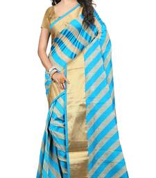 Buy blue woven art silk saree with blouse banarasi-silk-saree online