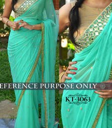 Buy Cyan Embroidered Georgette Saree With Blouse designer-embroidered-saree online