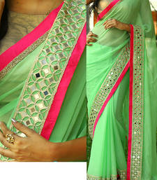 Buy Green Embroidered Georgette Saree With Blouse designer-embroidered-saree online