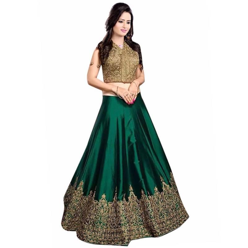 Buy A Dark Green Banglori Free Size Semi Stichhed Lehenga