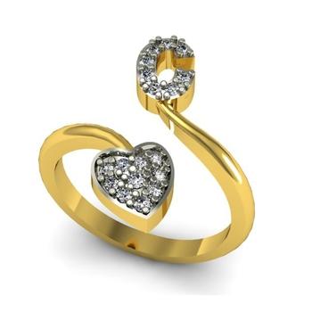 buy alphabet c shape gold plated ring
