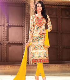 Buy Yellow printed cotton unstitched salwar with dupatta cotton-salwar-kameez online