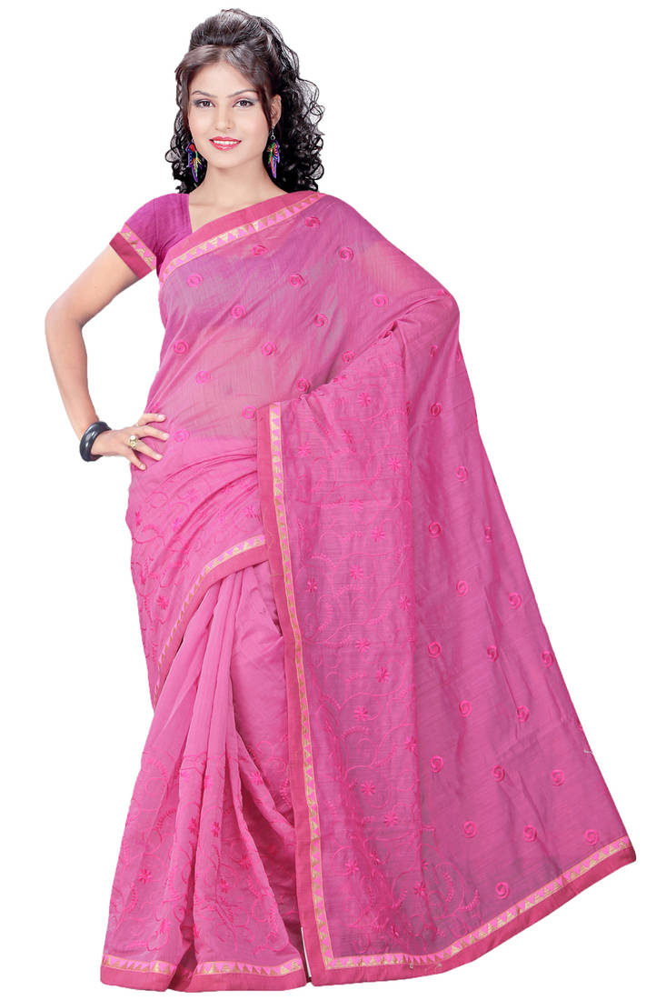 Buy Pink Embroidered Cotton Saree With Blouse Online