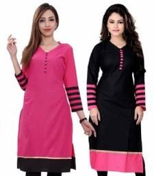 Buy Fashionlife Black & Pink Combo semi-stitched Cotton kurti combo-kurti online