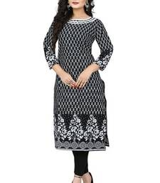 Buy Black and white cotton printed stitched kurti cotton-kurti online