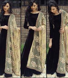 Buy Black velvet embroidered party wear gowns party-wear-gown online