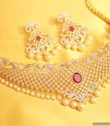 Buy Ruby Diamond look Pearl Bridal Necklace Set necklace-set online