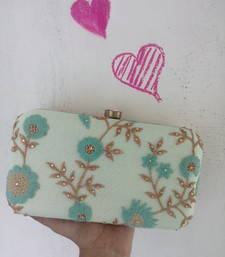 Buy Aqua Embroidered Statement Clutch clutch online