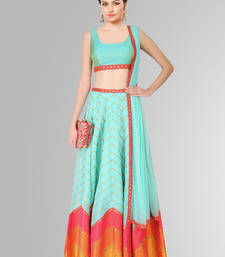 Buy Turquoise and red raw silk pinted unstitched lehenga choli lehenga-below-3000 online