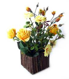 Buy Rose Bush with vase ( Yellow ) flower-arrangement online