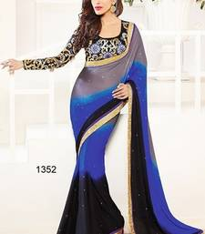 Buy black and blue and grey plain satin saree with blouse salwar-kameez-below-1000 online