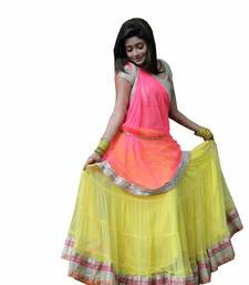 Buy yellow net unstitched lehenga choli lehenga-choli online