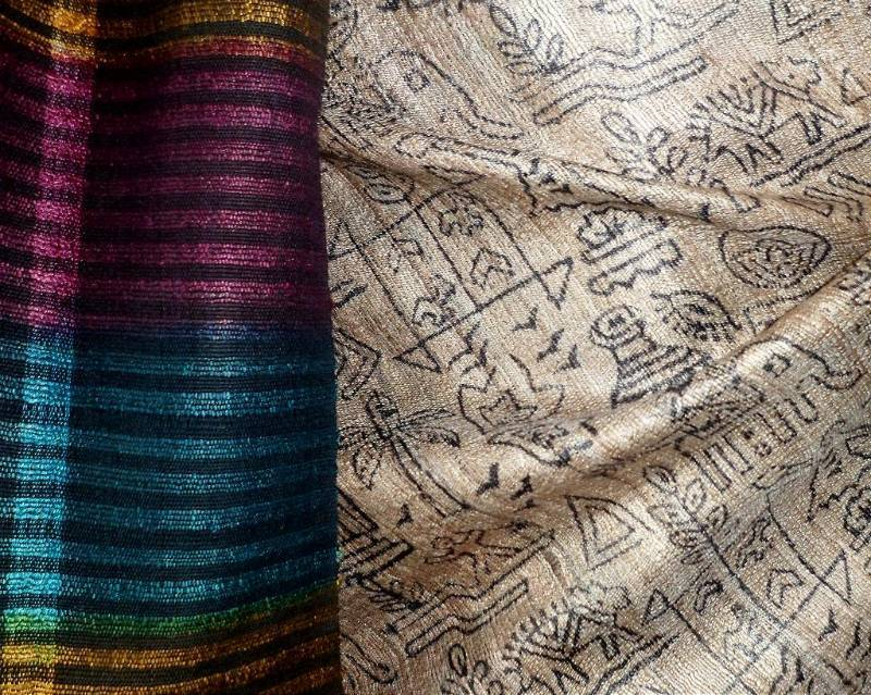 Buy Madhubani Print On Ghicha Silk From Bhagalpur Online