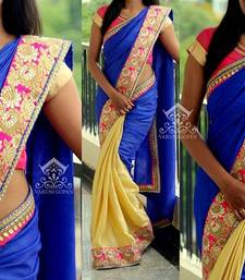 Buy georgette saree by kmozi (Blue) designer-embroidered-saree online