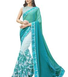 Buy Blue and Green embroidered crepe saree with blouse crepe-saree online