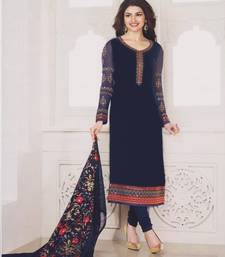 Buy Nevy Blue georgette embroidered semi stitched salwar with dupatta pakistani-salwar-kameez online