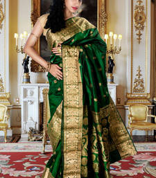 Buy Bright green pure silk zari weaved saree with golden saree border silk-saree online