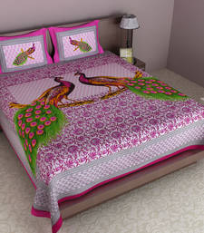 Buy Multicolor embroidered cotton double bedsheet bed-sheet online
