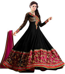 Buy Black Embroidered Georgette  Semi Stitched Anarkali Suit anarkali-salwar-kameez online