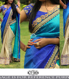 Buy blue embroidered art silk saree With Blouse art-silk-saree online