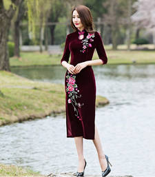 Buy Maroon velvet embroidered stitched kurti party-wear-kurti online