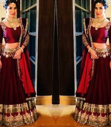 Buy Maroon art silk embroidered Bridal and bollywood-lehengas and Ethnic and Ghagra Choli unstitched lehenga choli lehenga-choli online