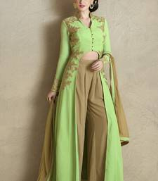 Buy Light green georgette embroidered semi stitiched salwar with dupatta indowestern online