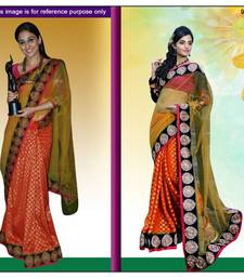 Buy Orange viscose saree with unstitched blouse (bwd905) viscose-saree online