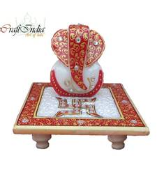Buy eCraftIndia Ridhi Sidhi with Swastik on Marble chowki new-year-gift online