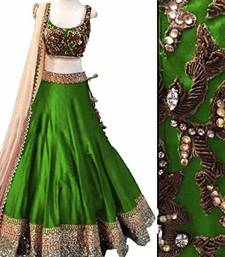 Buy Green banglory silk embrodiary unstitched lehenga choli navratri-lehenga-chaniya-choli online