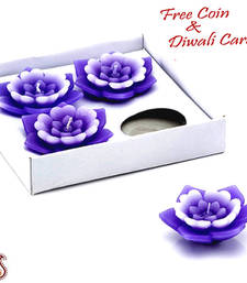 Buy Set of 04 floral wax floaters candle online
