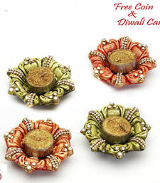 Buy Floral shape wax filled diya candles (set of 4) candle online