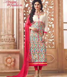 Buy Cream cotton embroidered semi stitched salwar with dupatta cotton-salwar-kameez online
