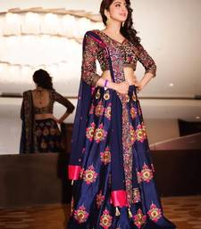 Buy blue Banglori printed  embroidered unstitched lehenga choli ghagra-choli online