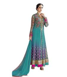Buy Cyan net embroidred semi stitched salwar with dupatta collar-neck-design online