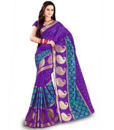 Buy blue embroidered jacquard saree with blouse banarasi-silk-saree online