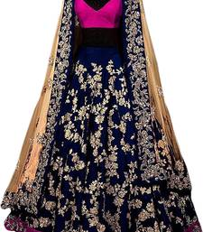 Buy blue embroidered art silk unstitched ghagra choli ghagra-choli online