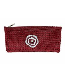 Buy Maroon Crochet Clutch with Motif clutch online