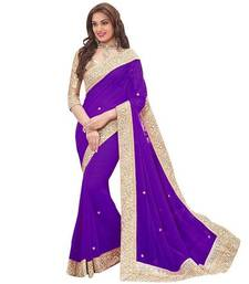 Buy Purple plain chiffon saree with blouse chiffon-saree online