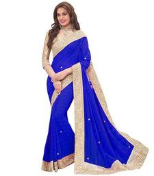 Buy Blue plain chiffon saree with blouse chiffon-saree online