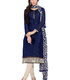 Buy Blue chanderi embroidered unstitched salwar with dupatta salwars-and-churidar online