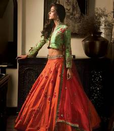 Buy Orange Silk Embroidered unstitched Lehenga with Blouse lehenga-below-2000 online