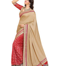 Buy Fabdeal Beige Colored Satin Embroidered Saree satin-saree online
