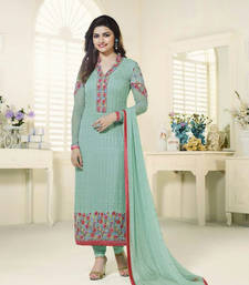Buy Light teal georgette embroidered semi stitched salwar with dupatta ethnic-suit online