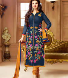 Buy Navy blue and yellow cotton embroidered semi stitched salwar with dupatta ayesha-takia-salwar-kameez online