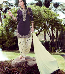 Buy Purple and off white cotton embroidered semi stitched salwar with dupatta eid-special-salwar-kameez online