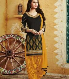 Buy Black and yellow cotton embroidered semi stitched salwar with dupatta punjabi-suit online