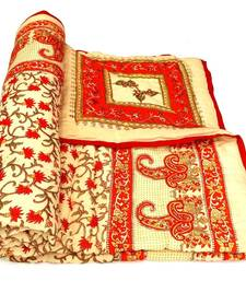 Buy Red jaipuri hand made gold print singal bed quilts quilt online